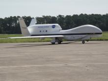 Global Hawk AV-6 after landing on Runway 22 in Wallops Flight Facility  (2012)